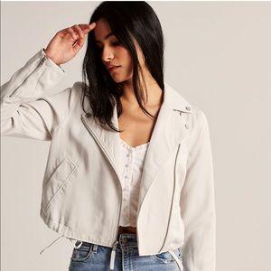 A & F Cream Moto Jacket